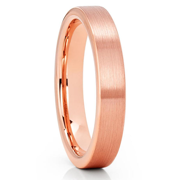 4mm - Rose Gold Tungsten Ring - Tungsten Wedding Band - Rose Gold Ring - Clean Casting Jewelry