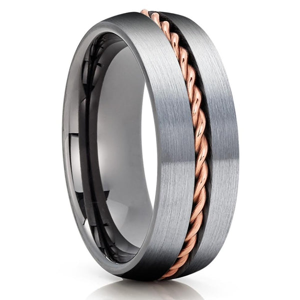 Gunmetal Tungsten Wedding Band - Rose Gold Tungsten - Gunmetal Ring - Braid - Clean Casting Jewelry