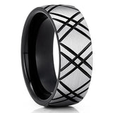 Black Tungsten Wedding Band - Gray Tungsten Ring - Tungsten Carbide Ring - 8mm Ring - Anniversary Ring - Comfort Fit