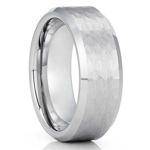 Men's Tungsten Wedding Ring - Silver Tungsten Ring - Hammered Tungsten Ring - Engagement Ring - 8mm