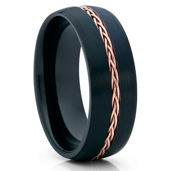 Black Tungsten Wedding Band - Rose Gold Tungsten Ring - Braid Ring - Brush - Clean Casting Jewelry