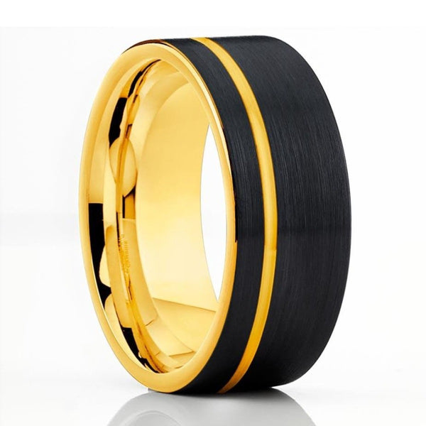 Yellow Gold Tungsten Wedding Band - Black Tungsten Ring - Men's Tungsten - Clean Casting Jewelry
