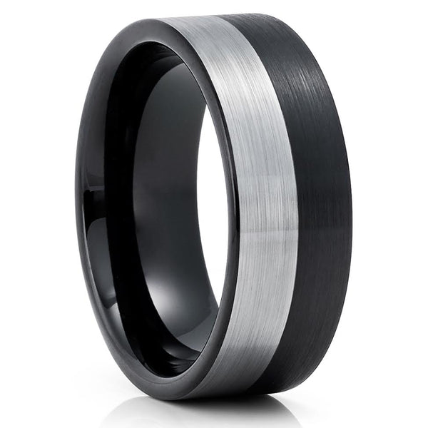 Black Tungsten Wedding Band - Silver Tungsten Ring - 8mm Black Tungsten