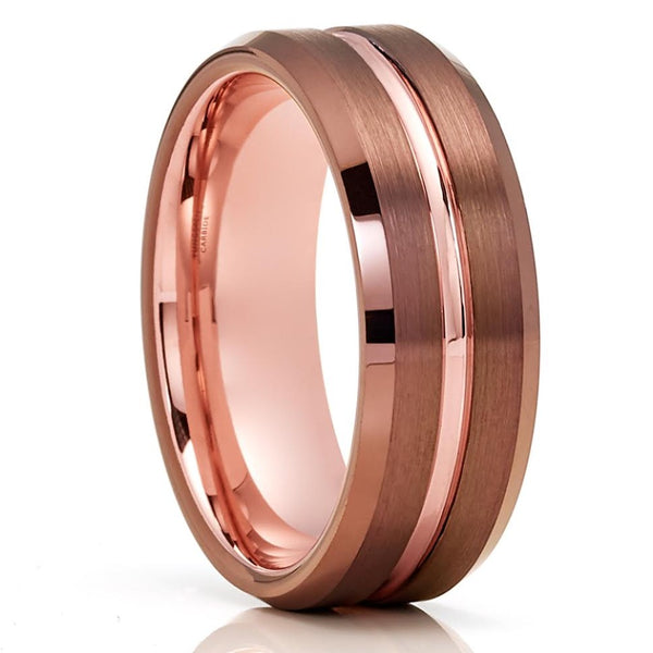 Espresso Wedding Rings - Tungsten Wedding Band - Espresso Wedding Band - 8mm Tungsten Ring