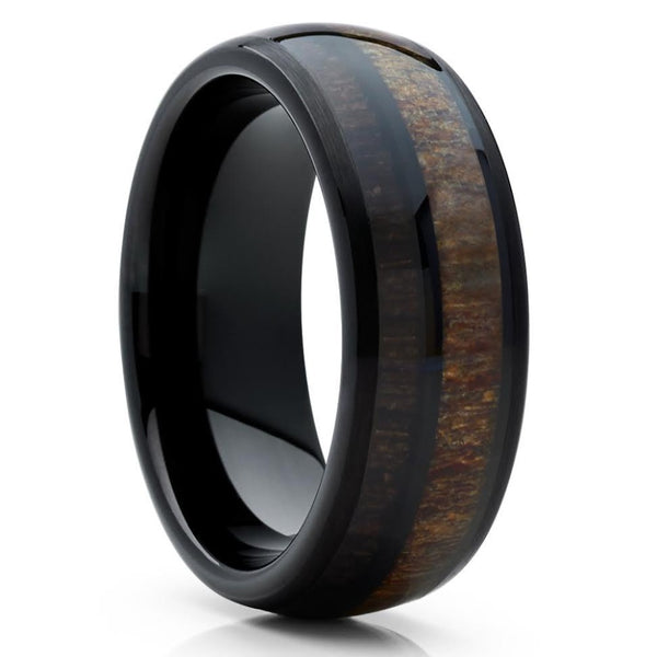 Deer Antler Wedding Band - Tungsten -Cherry Wood - Antler Ring - Black Ring - Clean Casting Jewelry