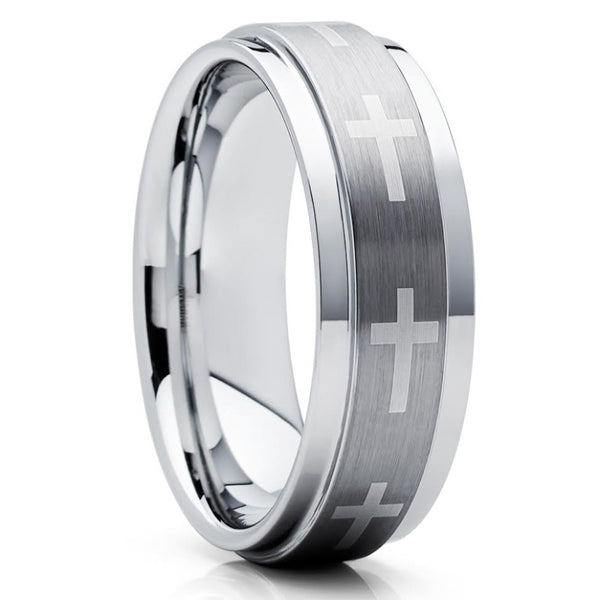 Christian Ring - Tungsten Wedding Band - Cross - Tungsten Wedding Ring - Clean Casting Jewelry
