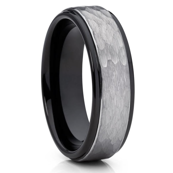 Black Tungsten Wedding Ring - Black Tungsten Ring - Hammered Ring - 6mm