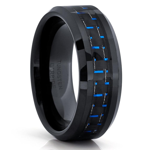 Black Tungsten Ring - Blue Carbon Fiber - Tungsten Wedding Band - 8mm - Clean Casting Jewelry