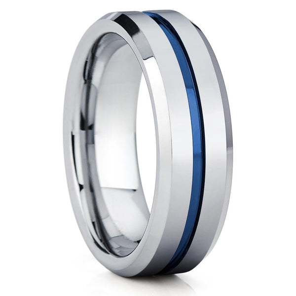 Blue Tungsten Wedding Ring - Blue Wedding Band - Shiny Polish - Ring - Clean Casting Jewelry