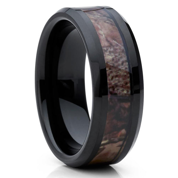 Camouflage Tungsten Ring - Black Tungsten Ring - Men's Tungsten Ring - Clean Casting Jewelry
