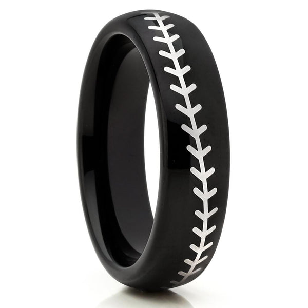 Baseball Wedding Band - Black Tungsten Ring - Baseball Ring - Black Ring - Clean Casting Jewelry