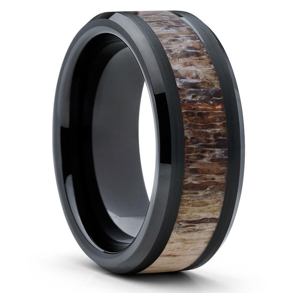 10mm - Deer Antler Wedding Band - Deer Antler Ring - Tungsten Ring - Band