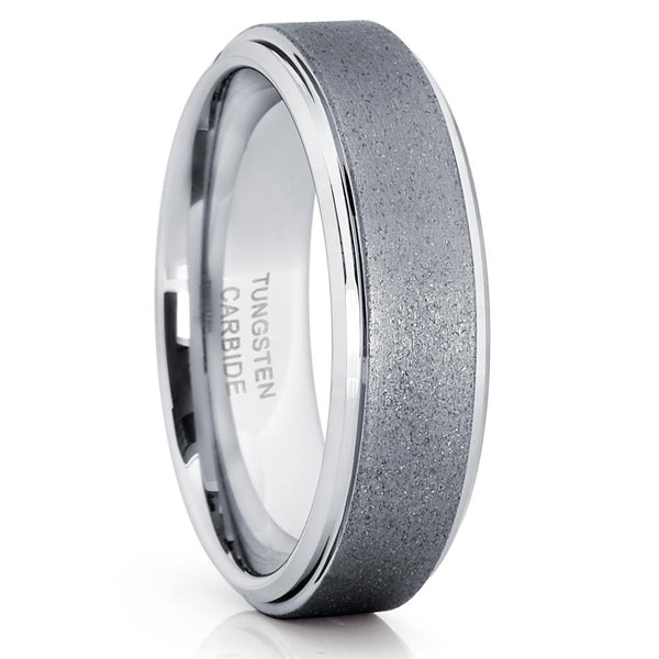 Grey Tungsten Ring - 6mm - Tungsten Wedding Band - Gunmetal Ring - Brush - Clean Casting Jewelry