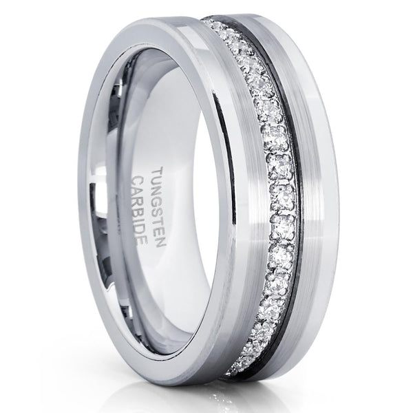 Men's Tungsten Wedding Band - Silver Tungsten Ring - 8mm Ring - Tungsten - Clean Casting Jewelry