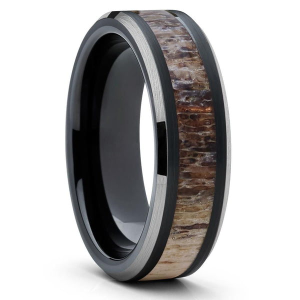 Deer Antler Wedding Ring - Black - Deer Antler Wedding Band - Tungsten Ring