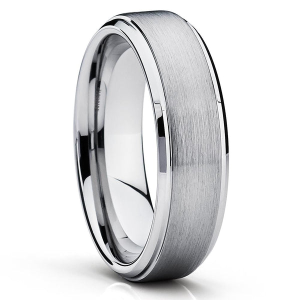 Silver Tungsten Ring - Tungsten Wedding Band - Gray Tungsten Ring - Brush - Clean Casting Jewelry