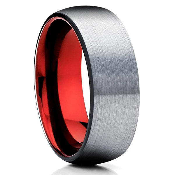 Red Tungsten Wedding - Tungsten Ring - Gray Tungsten Ring - Brush - Clean Casting Jewelry
