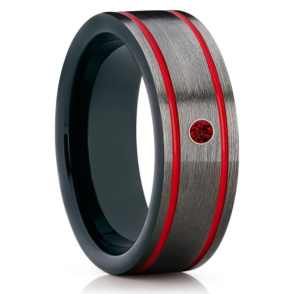 Red Tungsten Wedding Band - Ruby Ring - Black Tungsten Ring - 8mm - Clean Casting Jewelry
