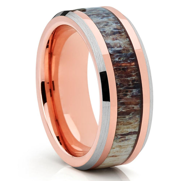 8mm - Deer Antler Wedding Band - Rose Gold - Tungsten Wedding Band - Clean Casting Jewelry