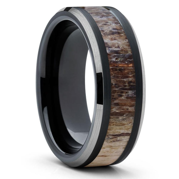 8mm - Deer Antler Wedding Band - Black Ring - Tungsten Wedding Band - Ring - Clean Casting Jewelry