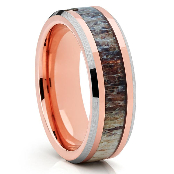 6mm - Deer Antler Wedding Band - Wedding Ring - Rose Gold - Tungsten - Clean Casting Jewelry