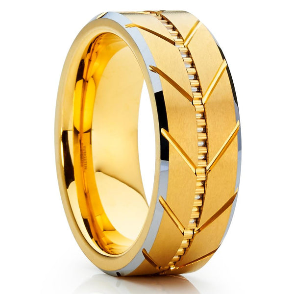 8mm,Grooved,Brushed,Yellow Gold Tungsten,Tungsten Wedding Band,Men's Band