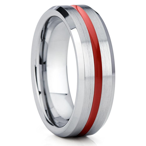 Red Tungsten Wedding Band - 7mm - Silver Tungsten Ring - Red Tungsten - Clean Casting Jewelry