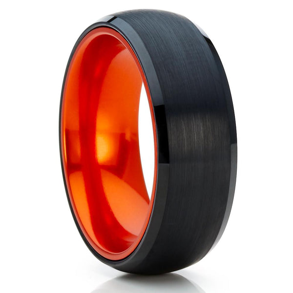 Orange Tungsten Ring,Tungsten Wedding Band,8mm Black Tungsten Ring,Unique