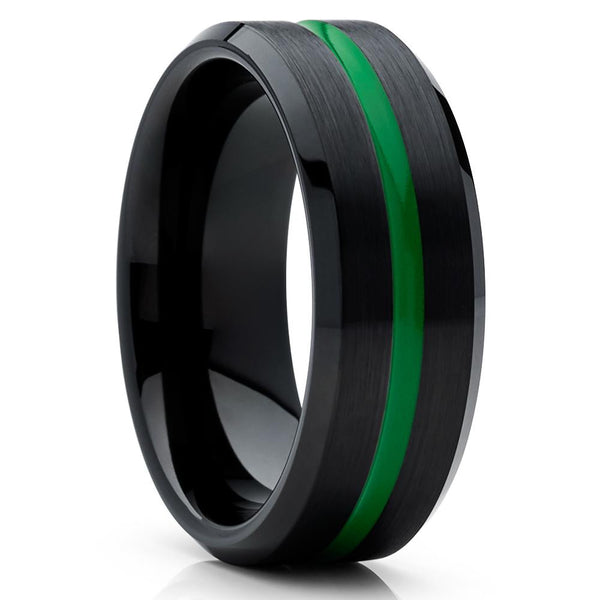 Green Tungsten Wedding Ring - Black Band - Green Tungsten Band - Clean Casting Jewelry