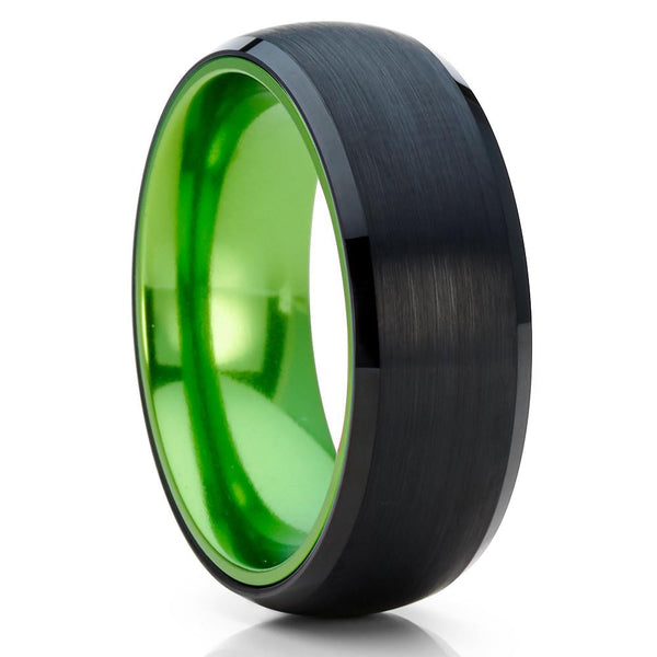 Green Tungsten Wedding Band - Black Tungsten Ring - Green Wedding Band - Clean Casting Jewelry
