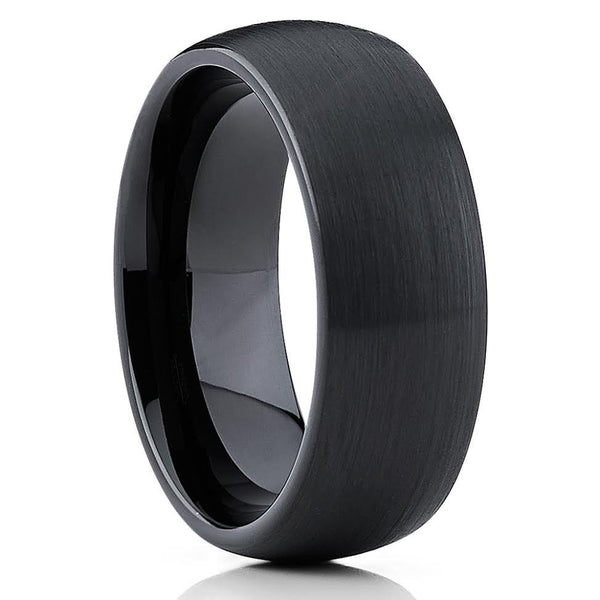 8mm,Dome Cobalt Ring,Black Cobalt Ring,Cobalt Chrome,Brushed Finish,Comfort Fit