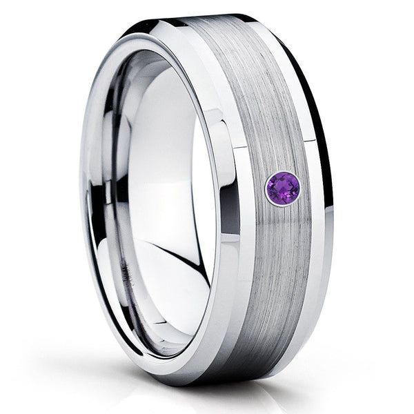 Amethyst Wedding Band - Tungsten Wedding Band - Silver Tungsten Ring - Clean Casting Jewelry
