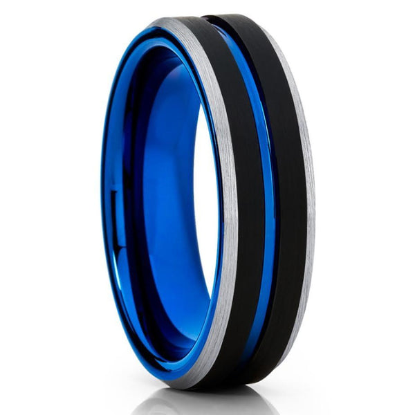 6mm - Blue Tungsten Wedding Band - Black Tungsten Ring - Brush Ring - Clean Casting Jewelry