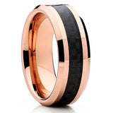 Rose Gold Cobalt Ring - Cobalt Wedding Band - Carbon Fiber Ring - 8mm - Clean Casting Jewelry