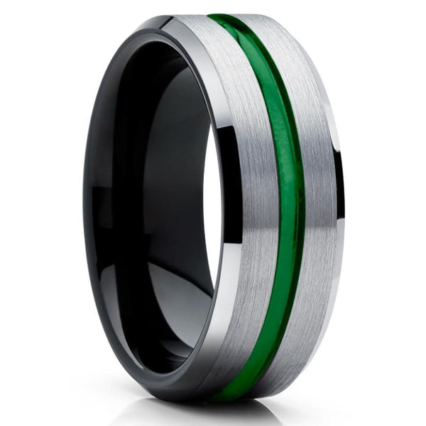 Green Tungsten Ring - Green Wedding Band - Black Tungsten Ring - Grey - Clean Casting Jewelry