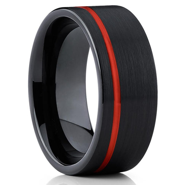 Red Tungsten - Tungsten Wedding Band - Red Wedding Ring - 8mm -Black - Clean Casting Jewelry