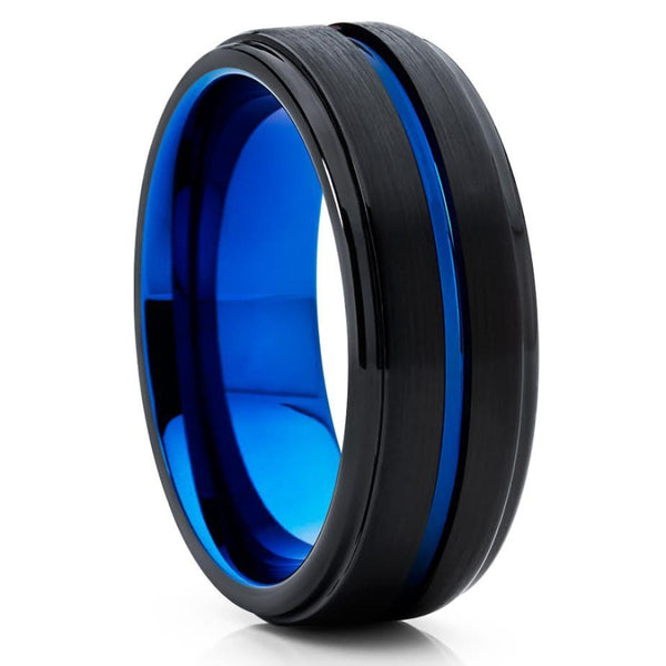 Blue Tungsten Wedding Band - Black - Blue Tungsten Ring - Men's Ring - Clean Casting Jewelry