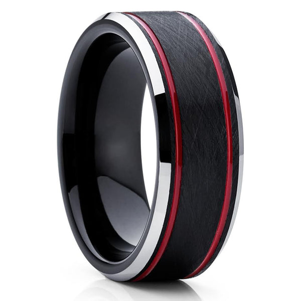Red Tungsten Wedding Band - Red Wedding Ring - Tungsten Wedding Ring - Clean Casting Jewelry