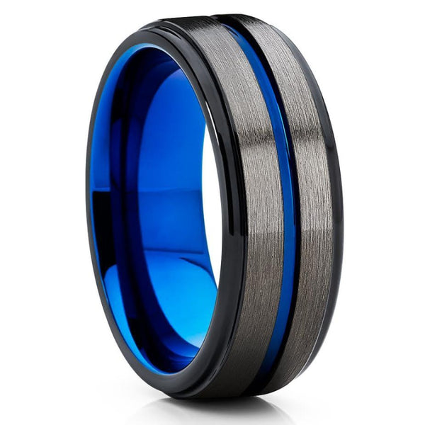 Blue Tungsten Wedding Band - Gunmetal - Black Tungsten Ring - 8mm - Clean Casting Jewelry
