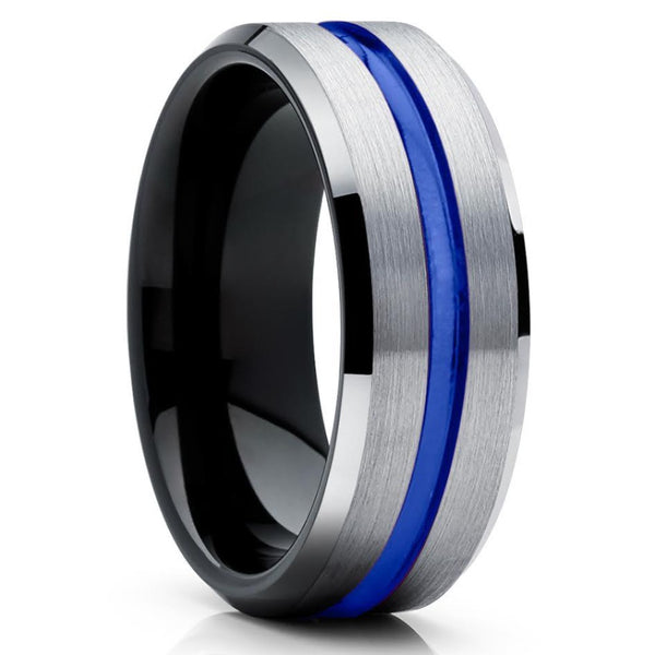 Blue Tungsten Ring - Silver Tungsten Ring - Black Tungsten Band - Brush - Clean Casting Jewelry