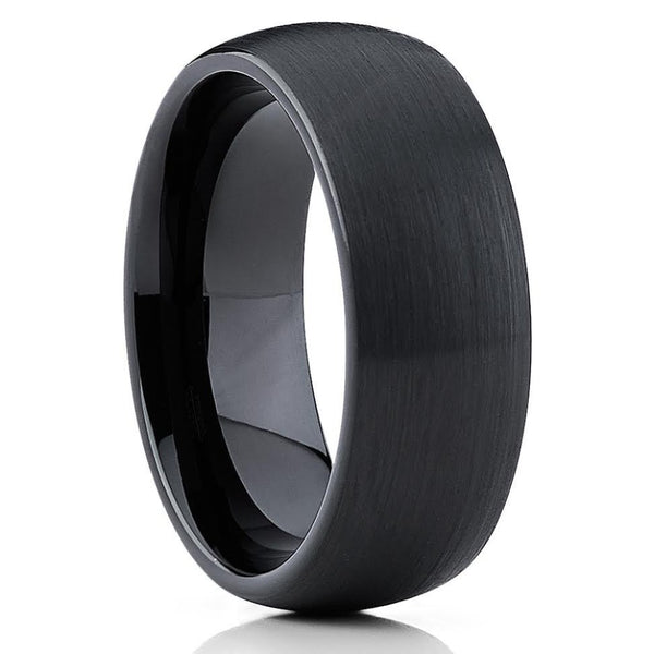 Black Tungsten Wedding Band - Tungsten Wedding Ring - Brushed Dome Ring