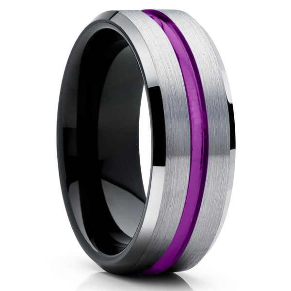 Purple Tungsten Wedding Band - Purple Wedding Band - Black Tungsten Ring - Clean Casting Jewelry