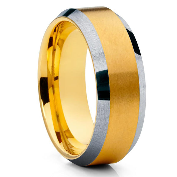 Men's Tungsten Wedding Band - Yellow Gold Tungsten Ring - Yellow Gold Ring - Clean Casting Jewelry