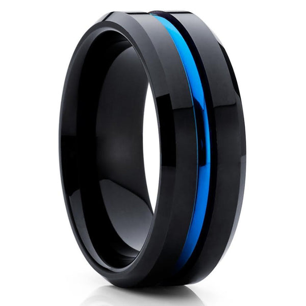 Men's Wedding Band - Black Tungsten Ring - Blue Band - Tungsten Ring - Clean Casting Jewelry