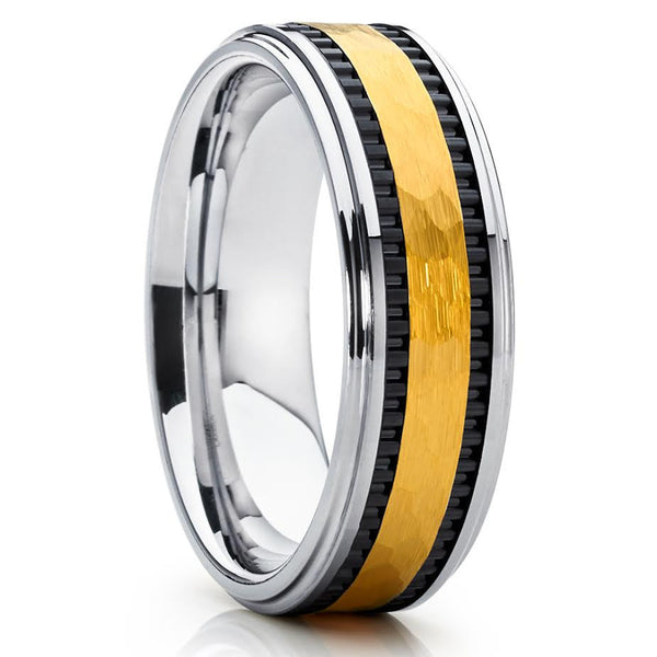 8mm,Hammered,Yellow Gold Tungsten,Handmade,Men's Tungsten Band,Tungsten Ring