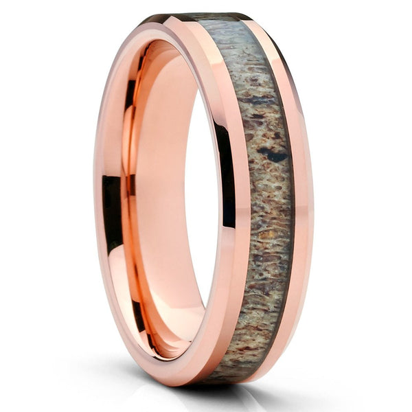 Deer Antler Wedding Band - Rose Gold Tungsten - Deer Antler Ring - 6mm - Clean Casting Jewelry