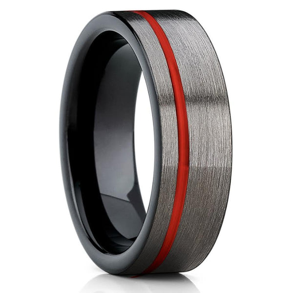 Red Tungsten Ring - 6mm - Gray Tungsten Ring - Red Wedding Band - Brush - Clean Casting Jewelry