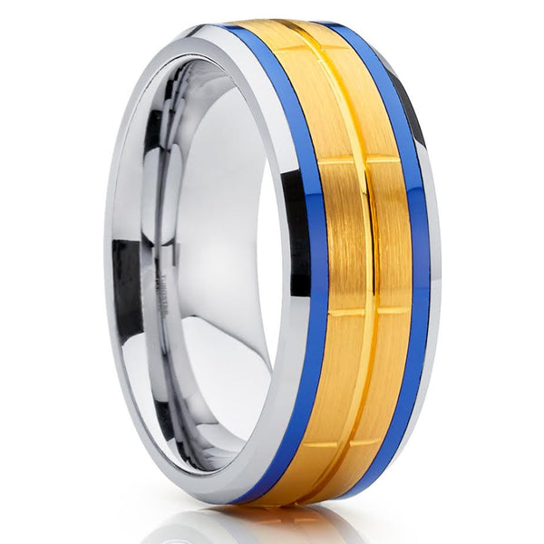 8mm,Grooved,Yellow Gold,Tungsten Ring,Tungsten Wedding Band,Handmade,Brushed