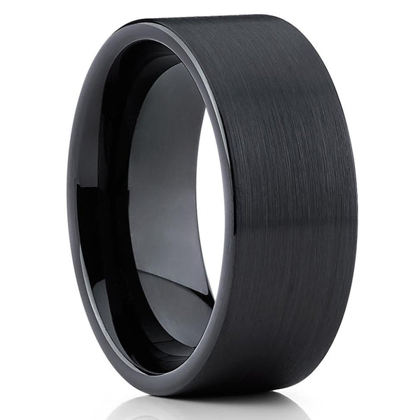 Black Tungsten Wedding Band - Pipe Cut - Black Tungsten Ring - Men's - Clean Casting Jewelry