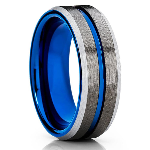 Blue Tungsten Wedding Band - 8mm - Gunmetal Ring - Men's Tungsten Ring - Clean Casting Jewelry
